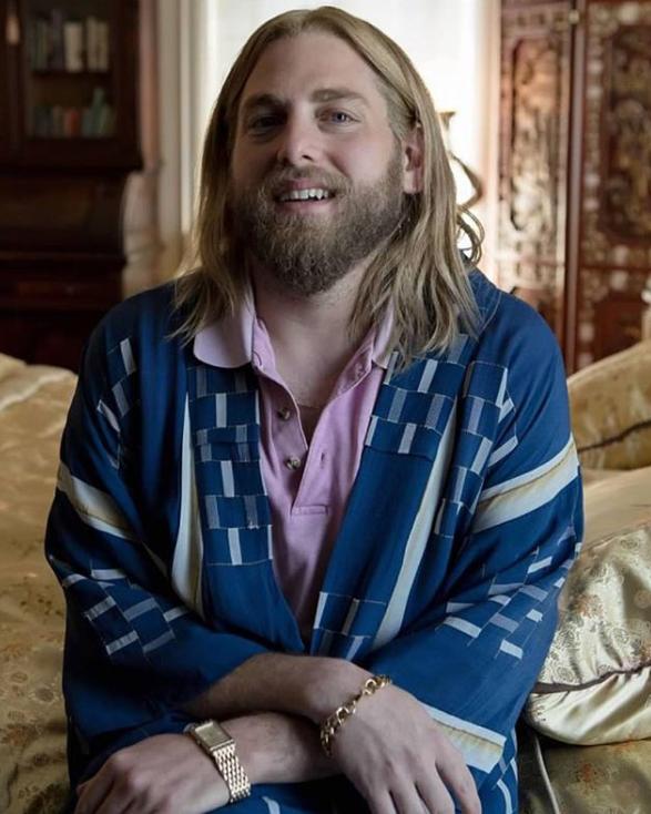 Jonah Hill rocking long, blond hair and a beard. Credit: Instagram