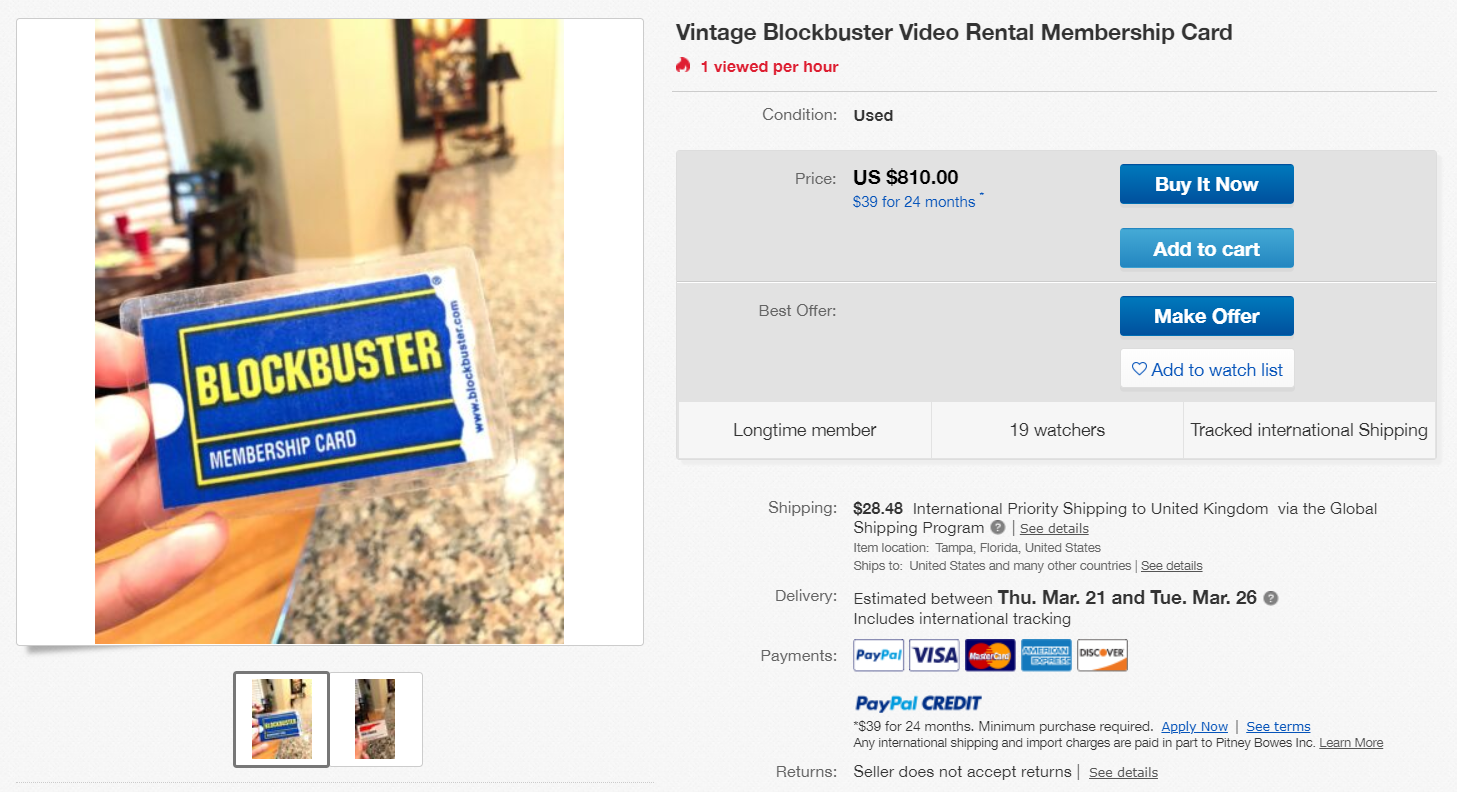 The eBay listing. Credit: eBay
