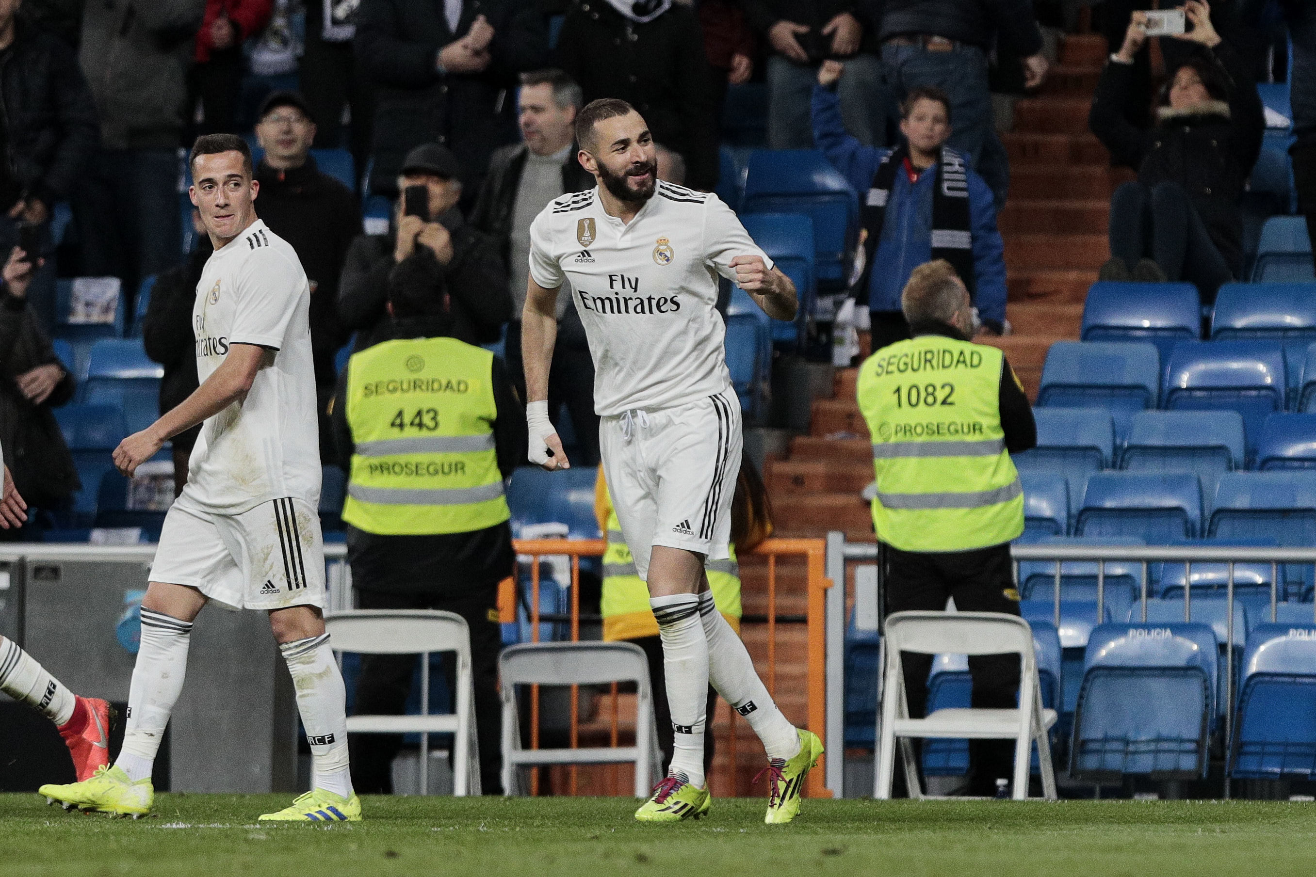 Benzema celebrates his winner on Sunday. Image: PA Images