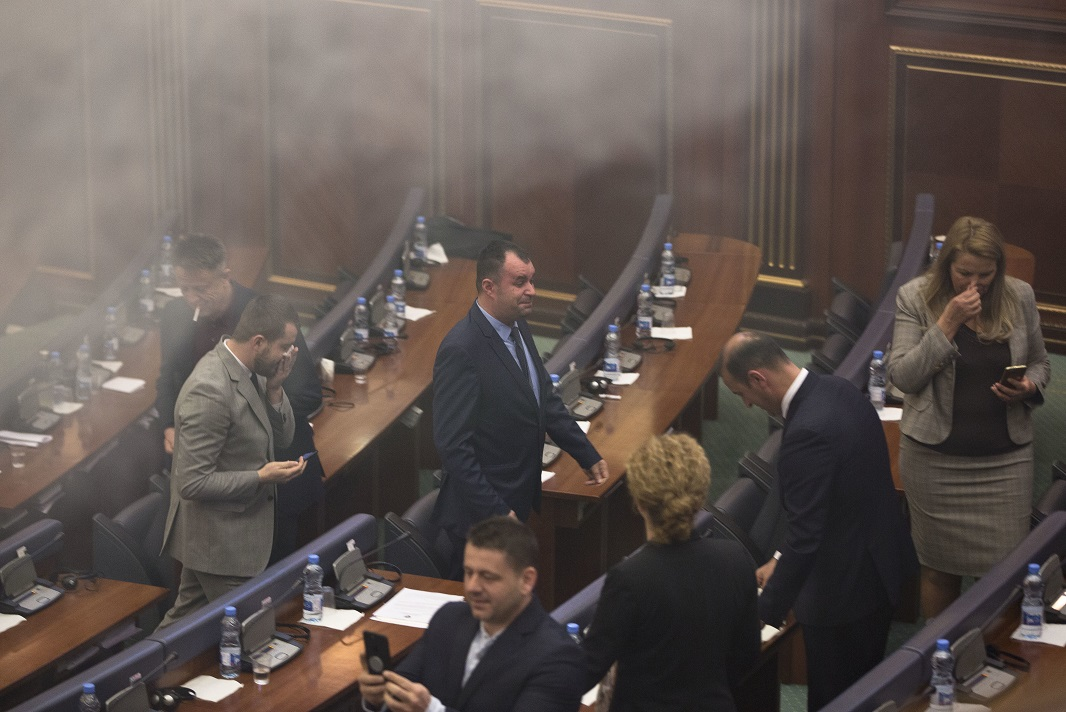 Kosovo MPs use tear gas to halt parliament vote on border deal