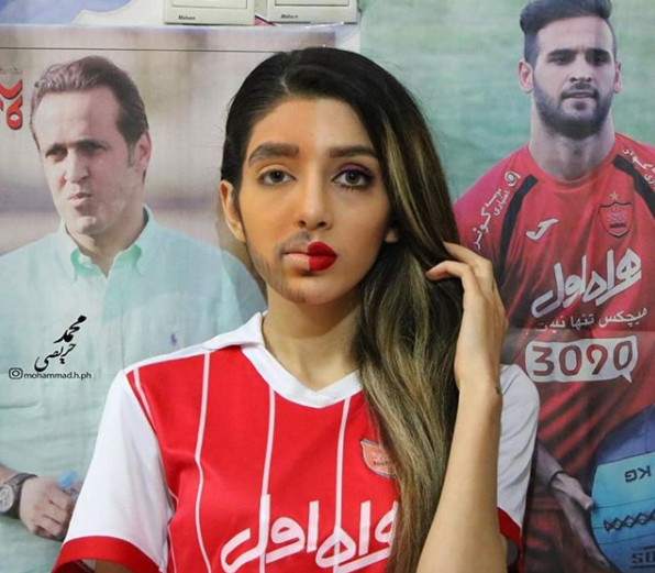 Iranian women don fake beards to defy football stadium ban