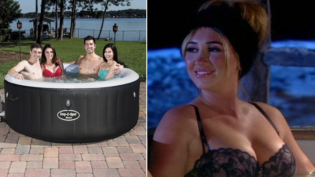 b m is selling an inflatable hot tub which is cheaper than. Black Bedroom Furniture Sets. Home Design Ideas