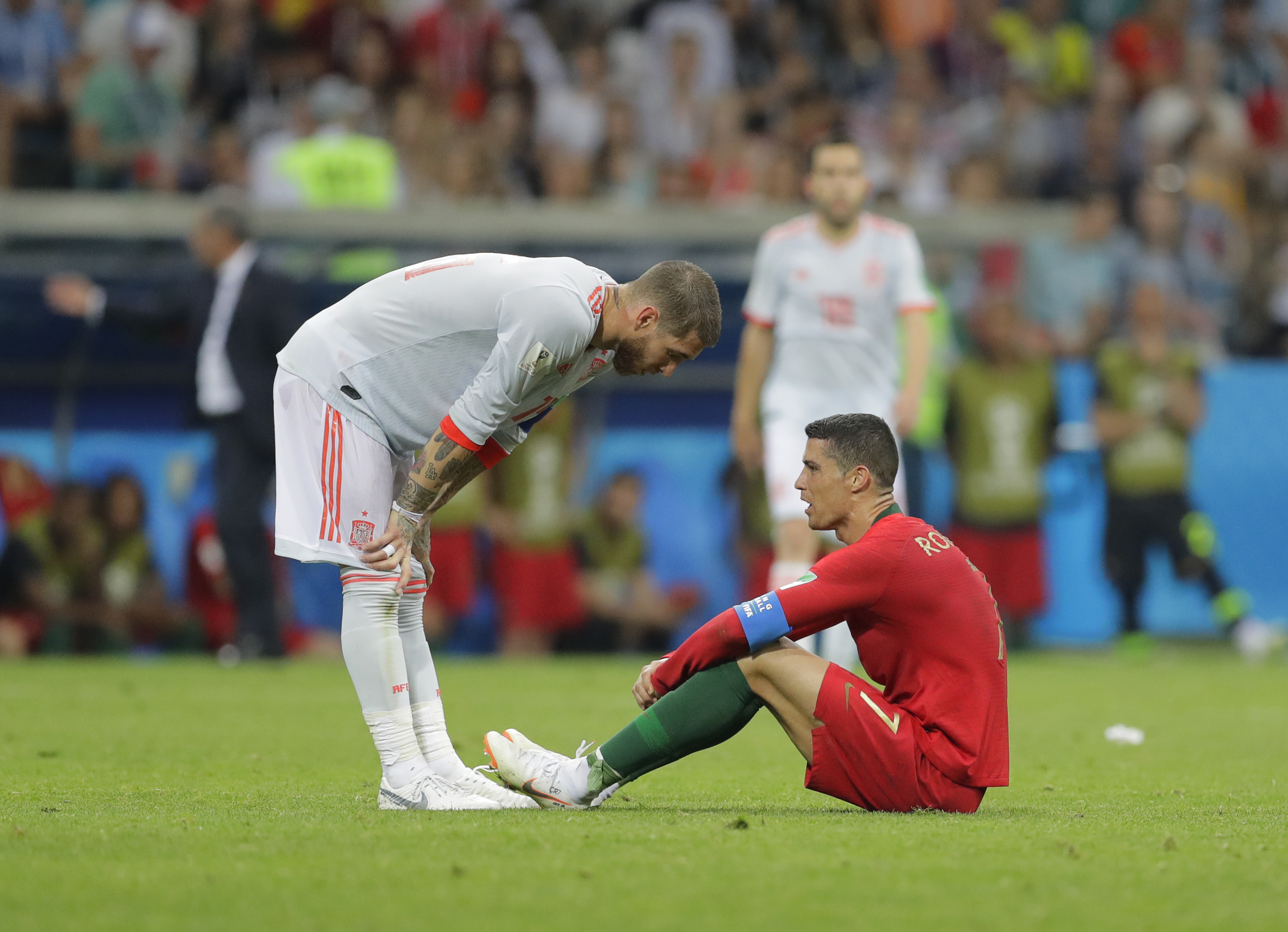 Ramos has a word with Ronaldo. Image PA
