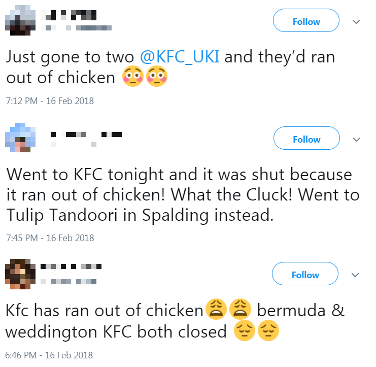 KFC closes restaurants after delivery