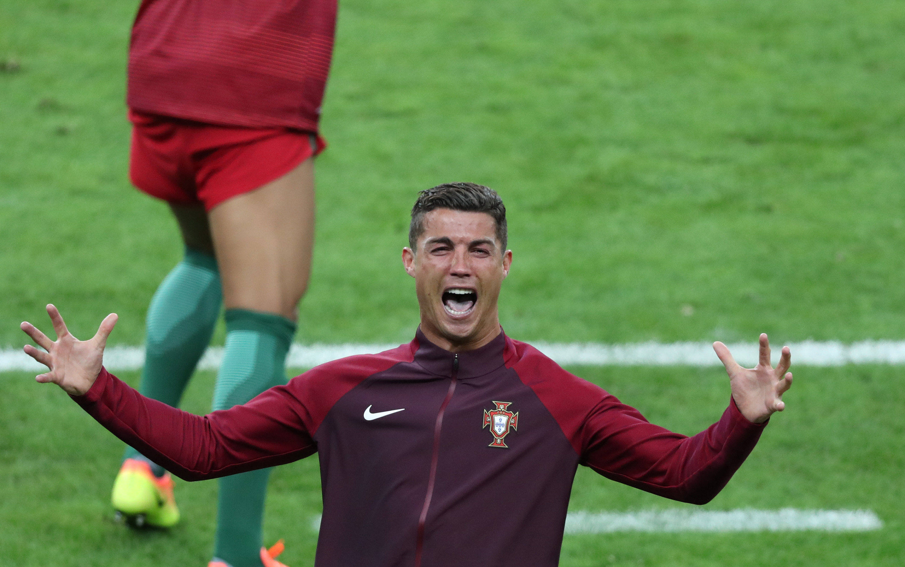Ronaldo roars in excitement as Portugal clinch the victory. Image: PA