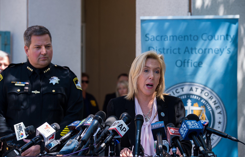 Sacramento District Attorney Anne Marie Schubert and Sheriff Scott Jones. Credit PA