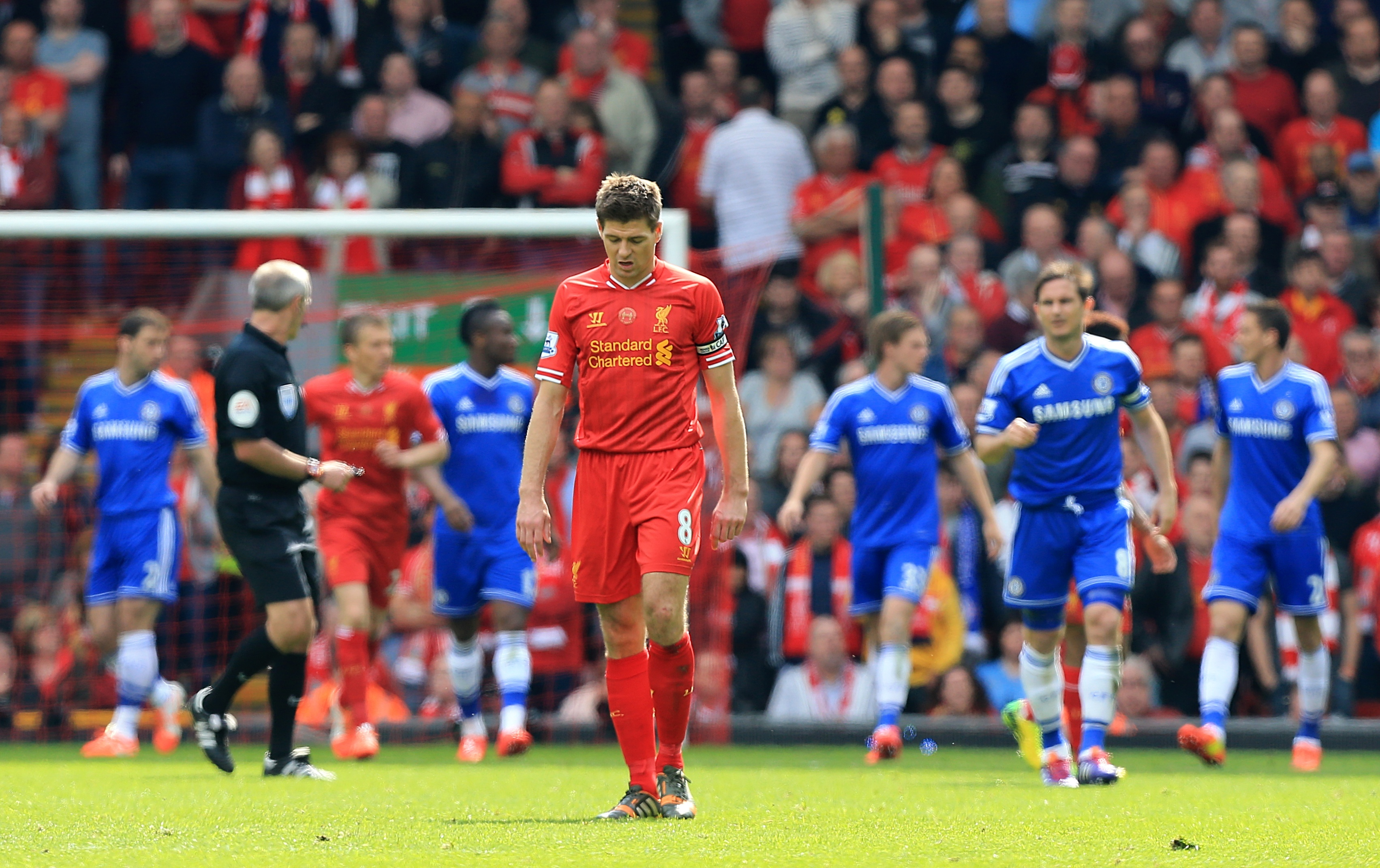 Gerrard after the infamous slip. Image: PA Images