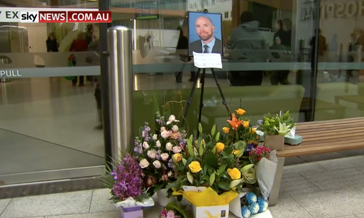 A shrine was erected outside the court. Credit: Channel 9/Sky News