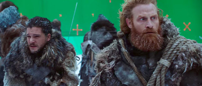 Jon Snow and Tormund in front of the green screen. Credit: HBO