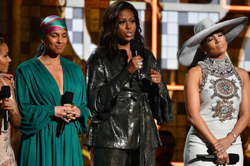 Alicia Keys, Michelle Obama and Jennifer Lopez appear during the 61st Annual Grammy Awards. Credit: PA