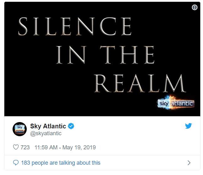 Sky Atlantic has taken part in a social media blackout. Credit: Twitter