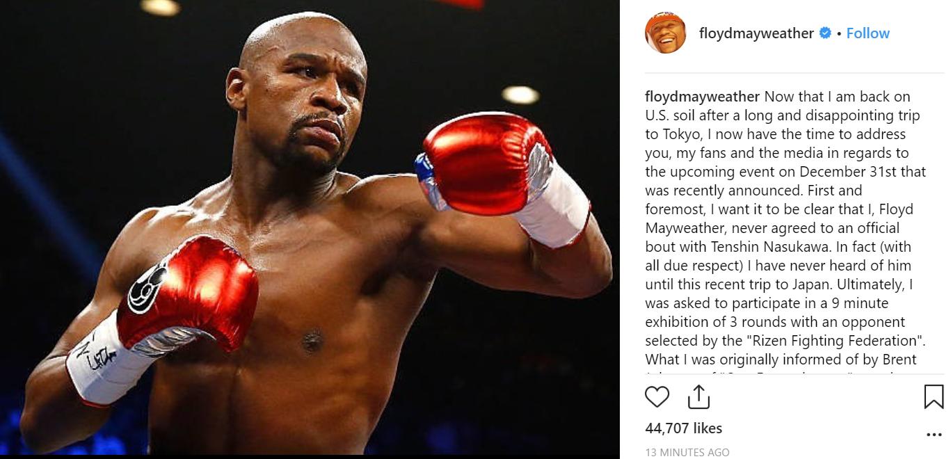 Floyd Mayweather's post. Credit: Instagram