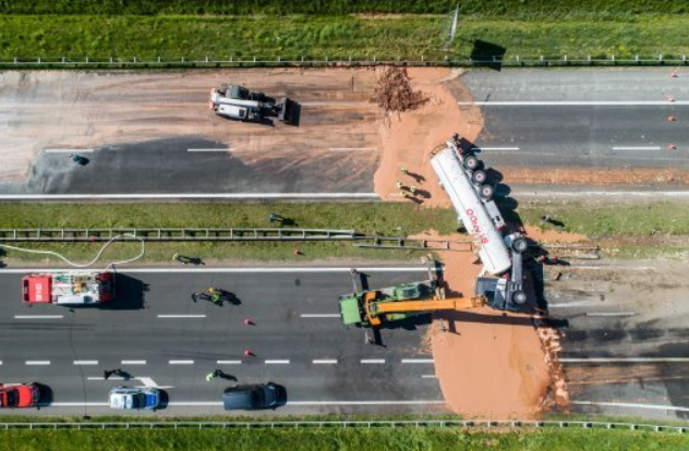 Tons of chocolate spill on Polish motorway. credit: PA