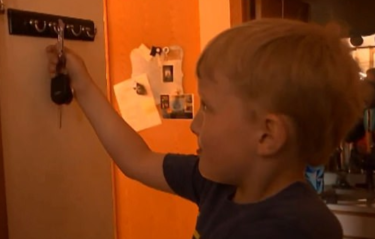 The cheeky tyke swiped his great-grandmother's keys while no one was looking. Credit: Fox 9