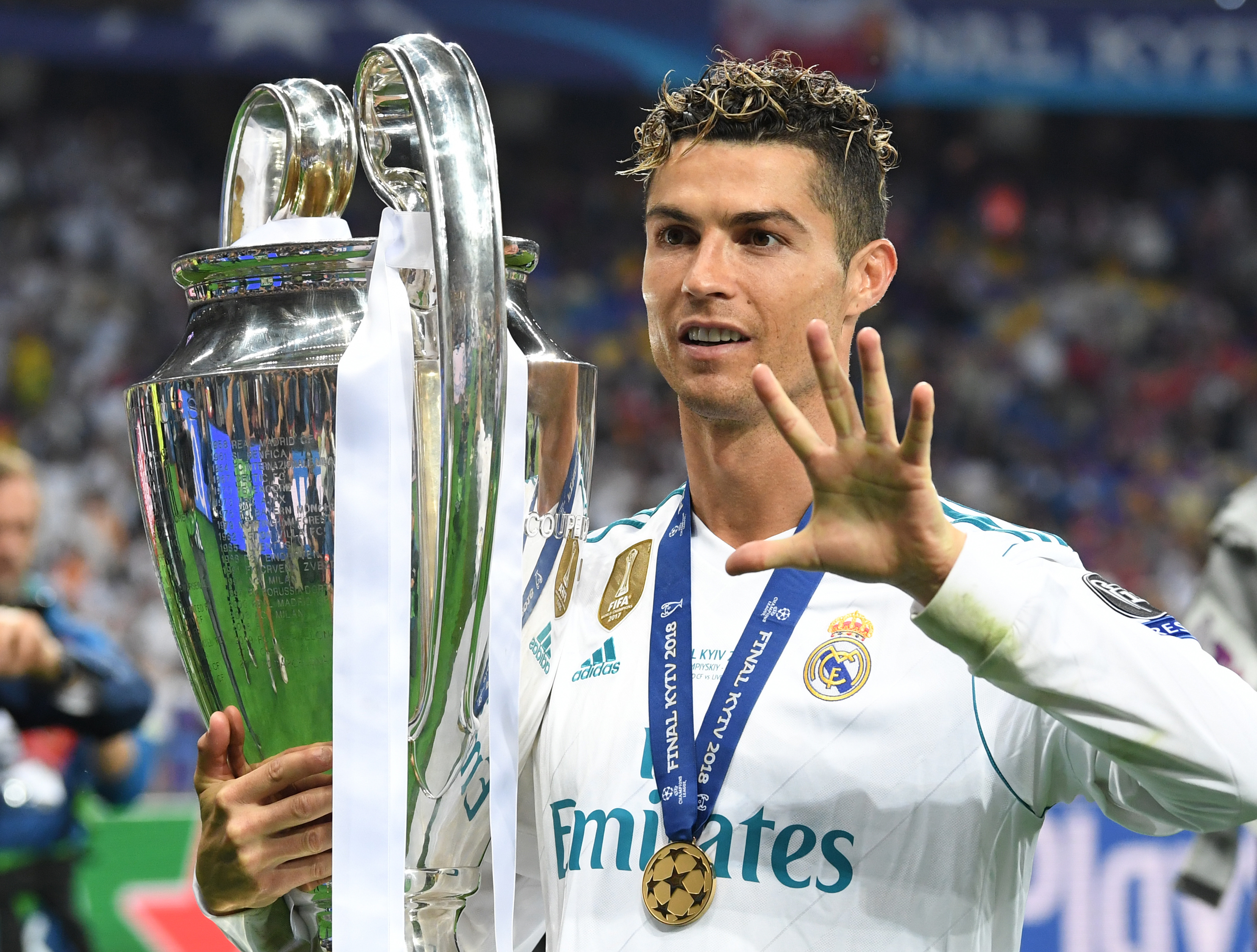 Ronaldo lets everyone know how many times he's won the title. Image: PA Images
