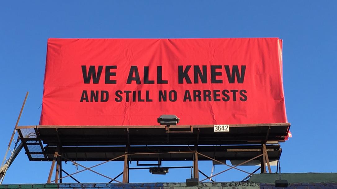 Artist Installs Blunt 'Three Billboards' Message For Hollywood Paedophiles
