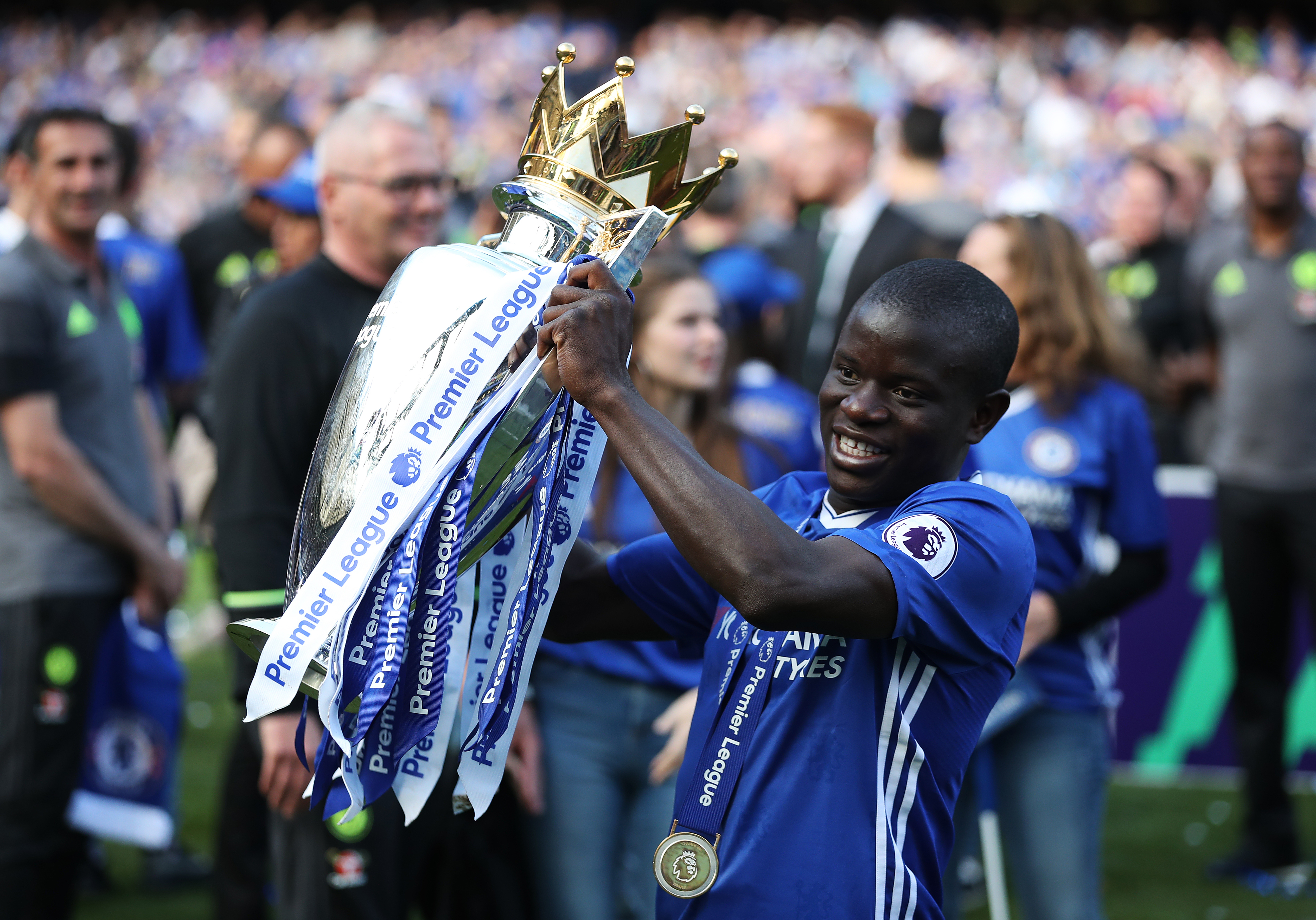 Kante with the title in his hands for the second year in a row. Image: PA Images