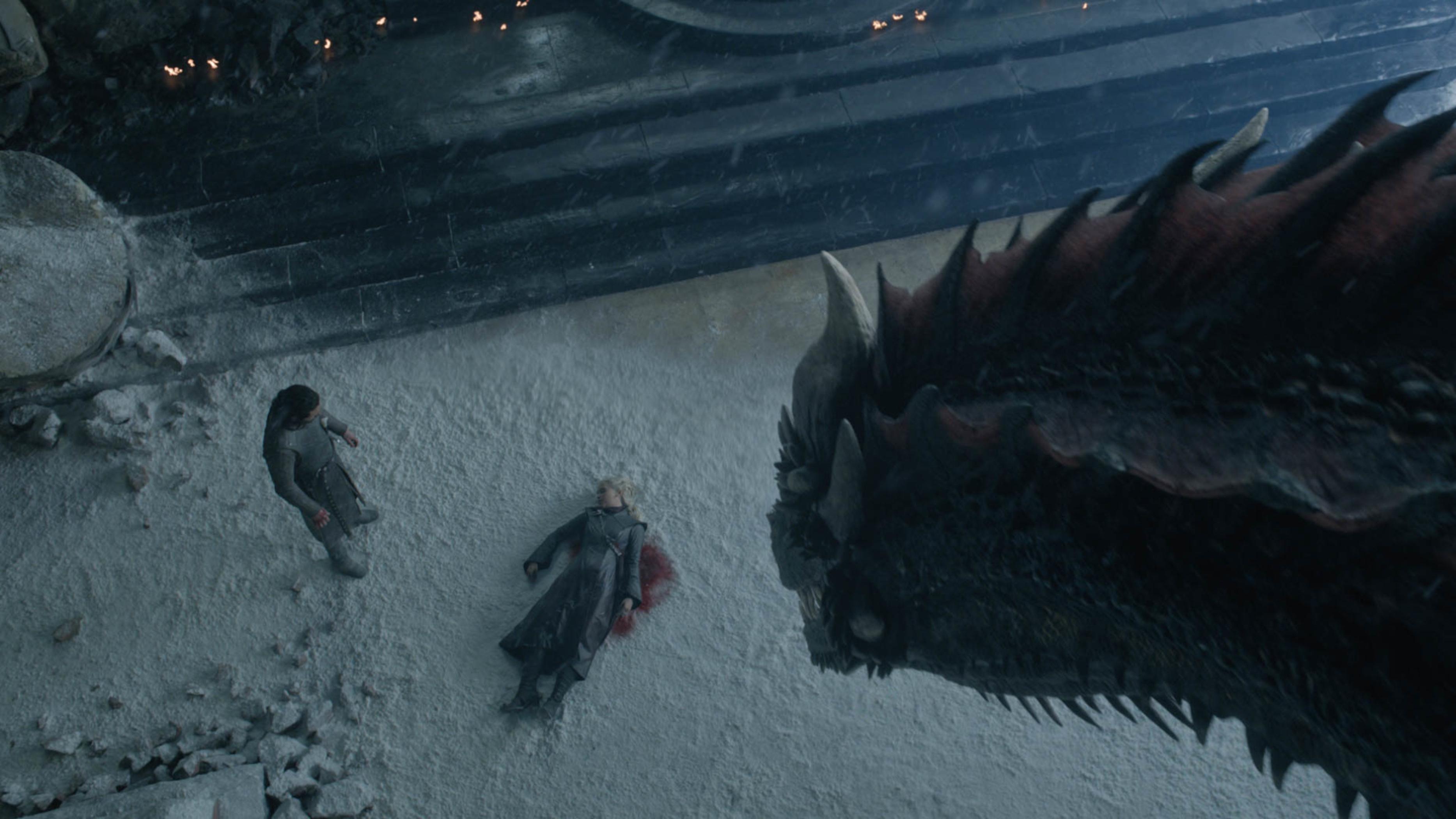 Daenerys, Jon and Drogon. Credit: HBO