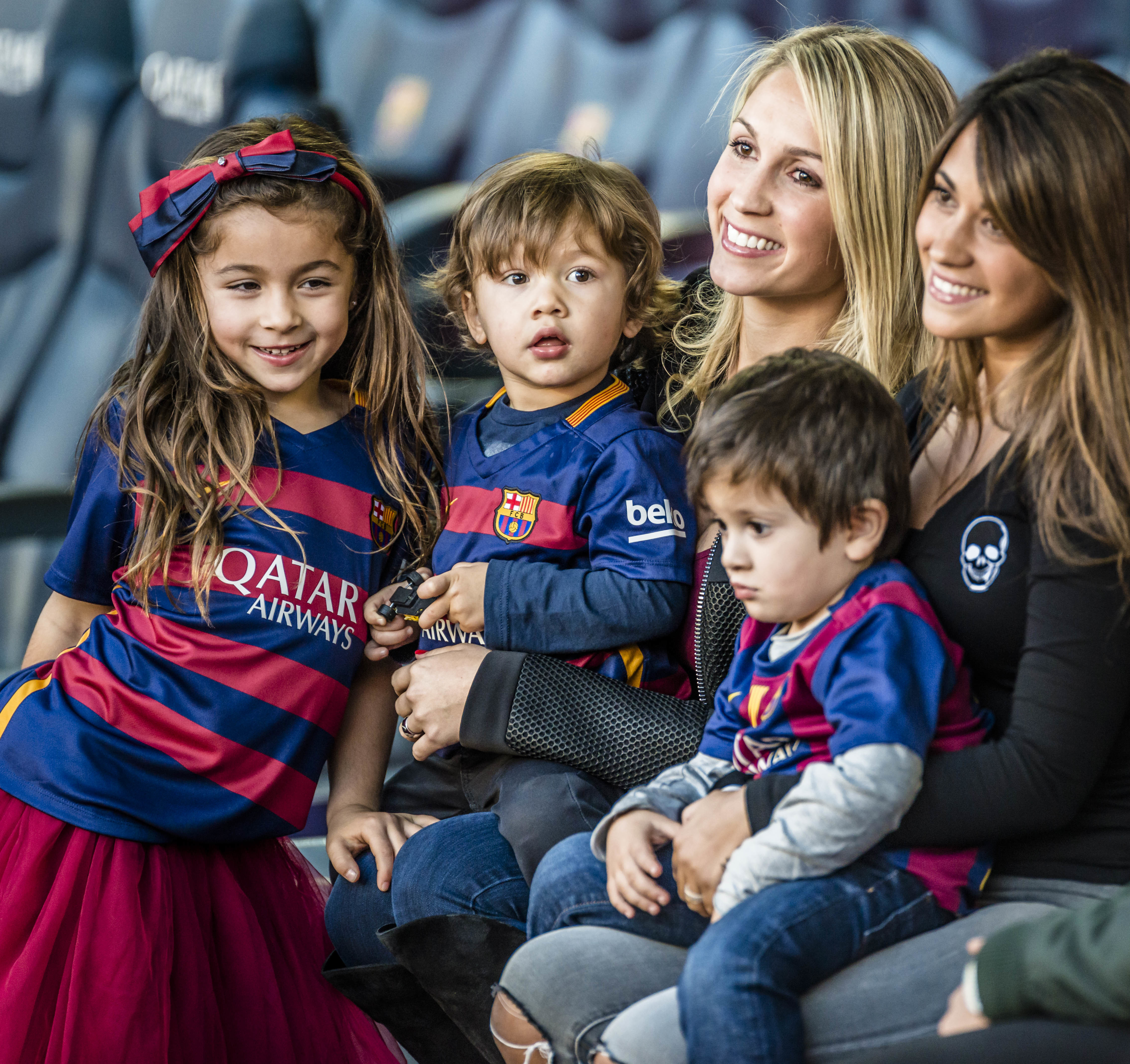 The Messi family watching 'dad.' Image: PA Images