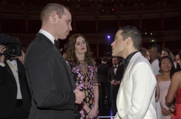 Rami Malek speaking to the Duke of Cambridge. Credit: PA