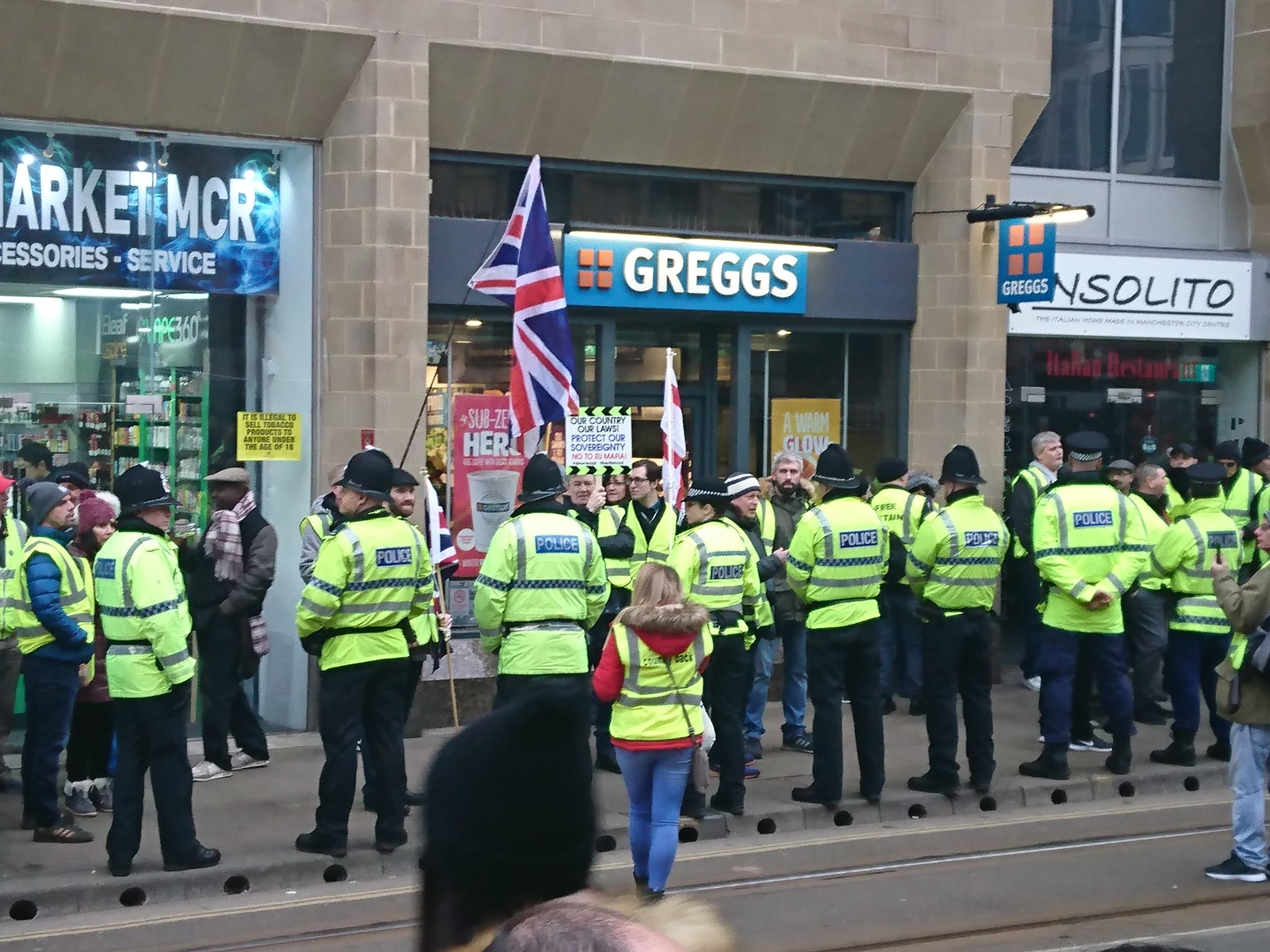 People thought the protest was over Greggs' new vegan sausage rolls. Credit: Twitter/@therealbriman