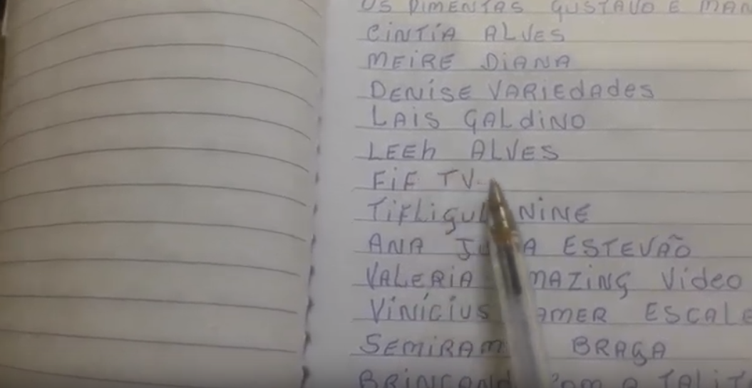 Nilson likes to write down the names of his subscribers so he can thank them all. Credit: YouTube