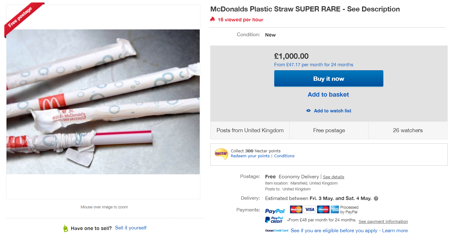 Fancy an old-school plastic McDonald's straw for a cool £1k? Credit: eBay
