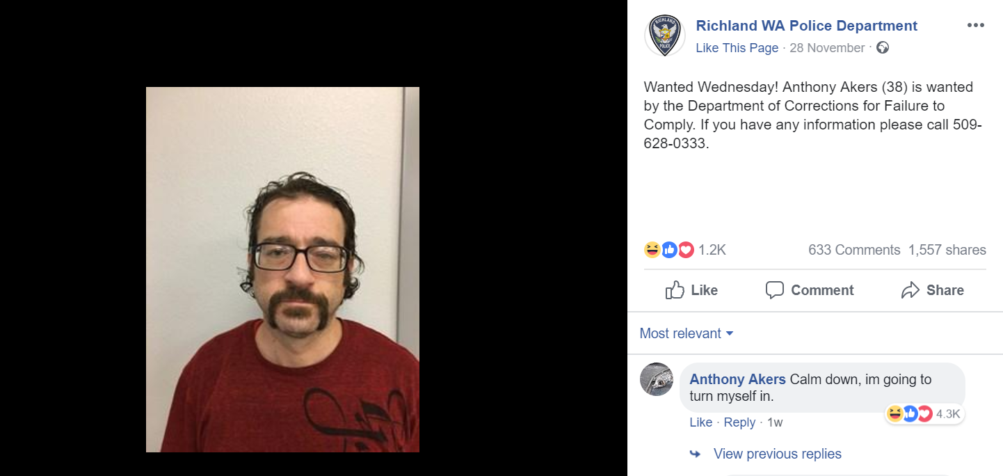 Wanted men ordinarily avoid participating in the police search. Credit: Facebook/Richland WA Police Department