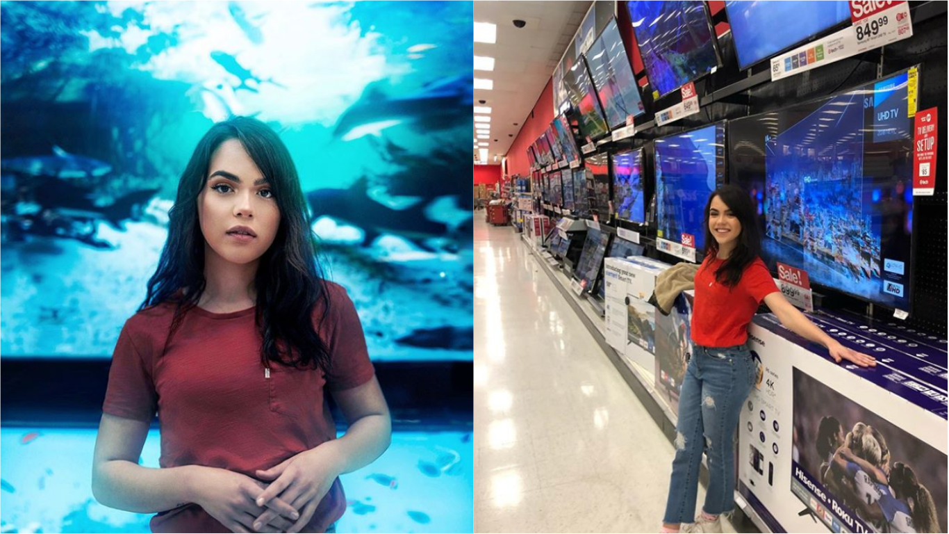 Model Diana Reynoso photographed in front of a 'fish tank'. Credit: Calob Castellon/Instagram
