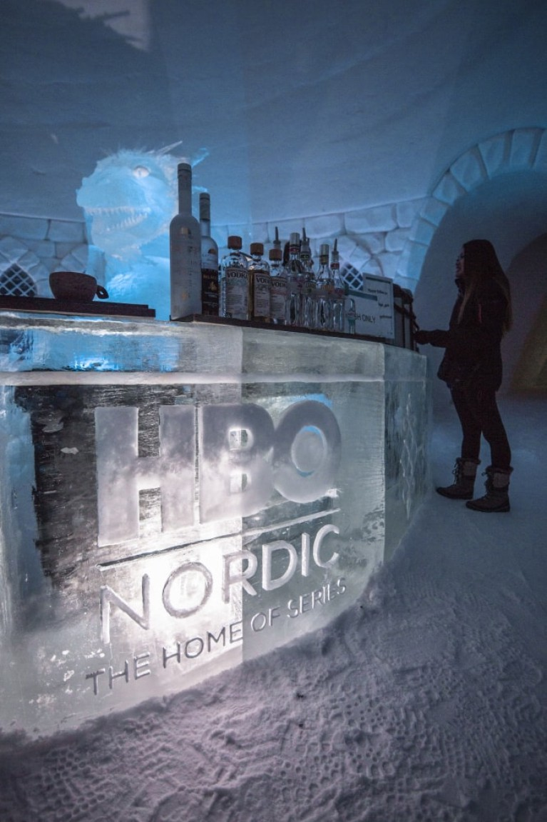 The hotel includes an ice bar. Credit: Lapland Hotels