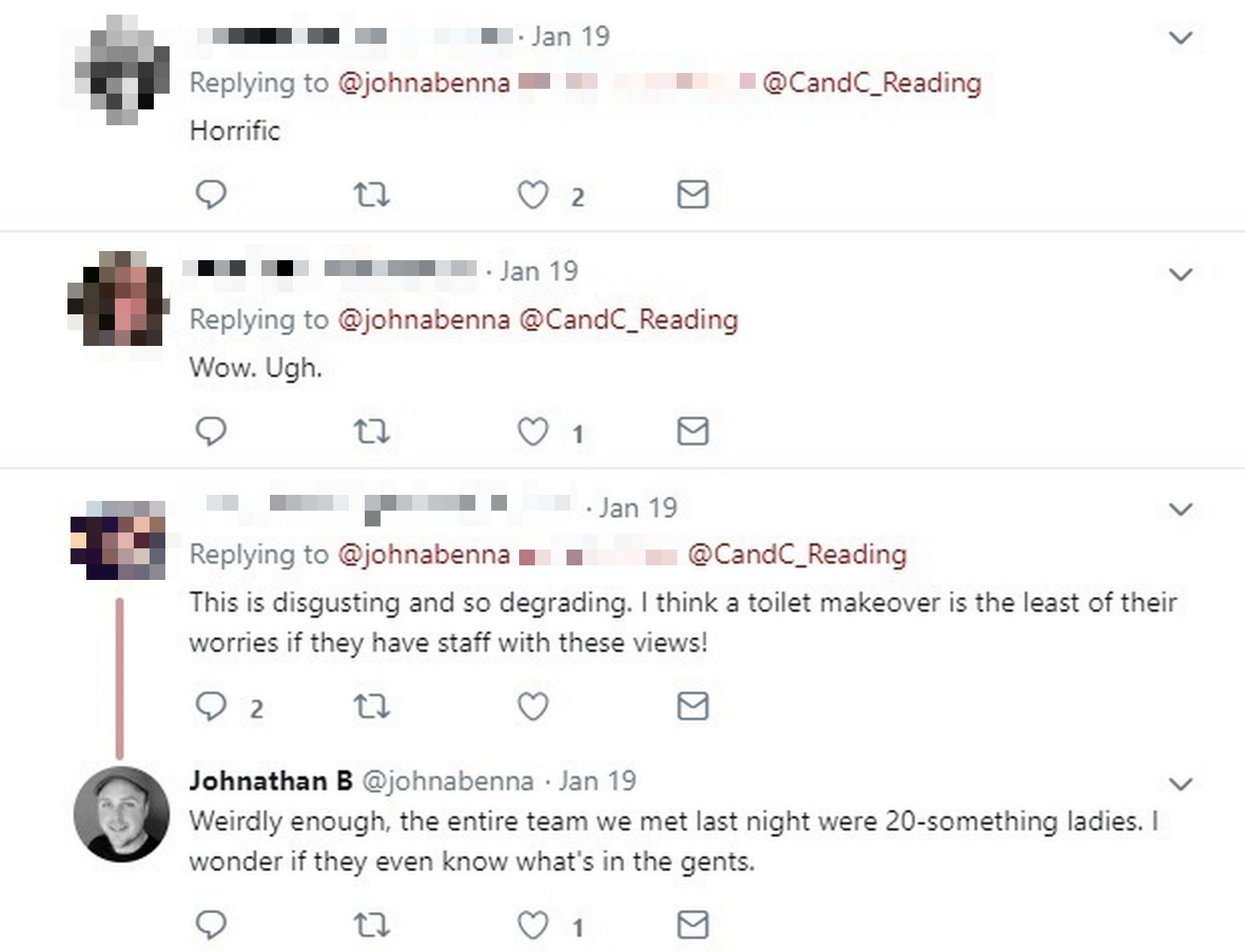Johnathan responded to people on Twitter questioning whether the female members of staff know about the messages. Credit: Kennedy News and Media