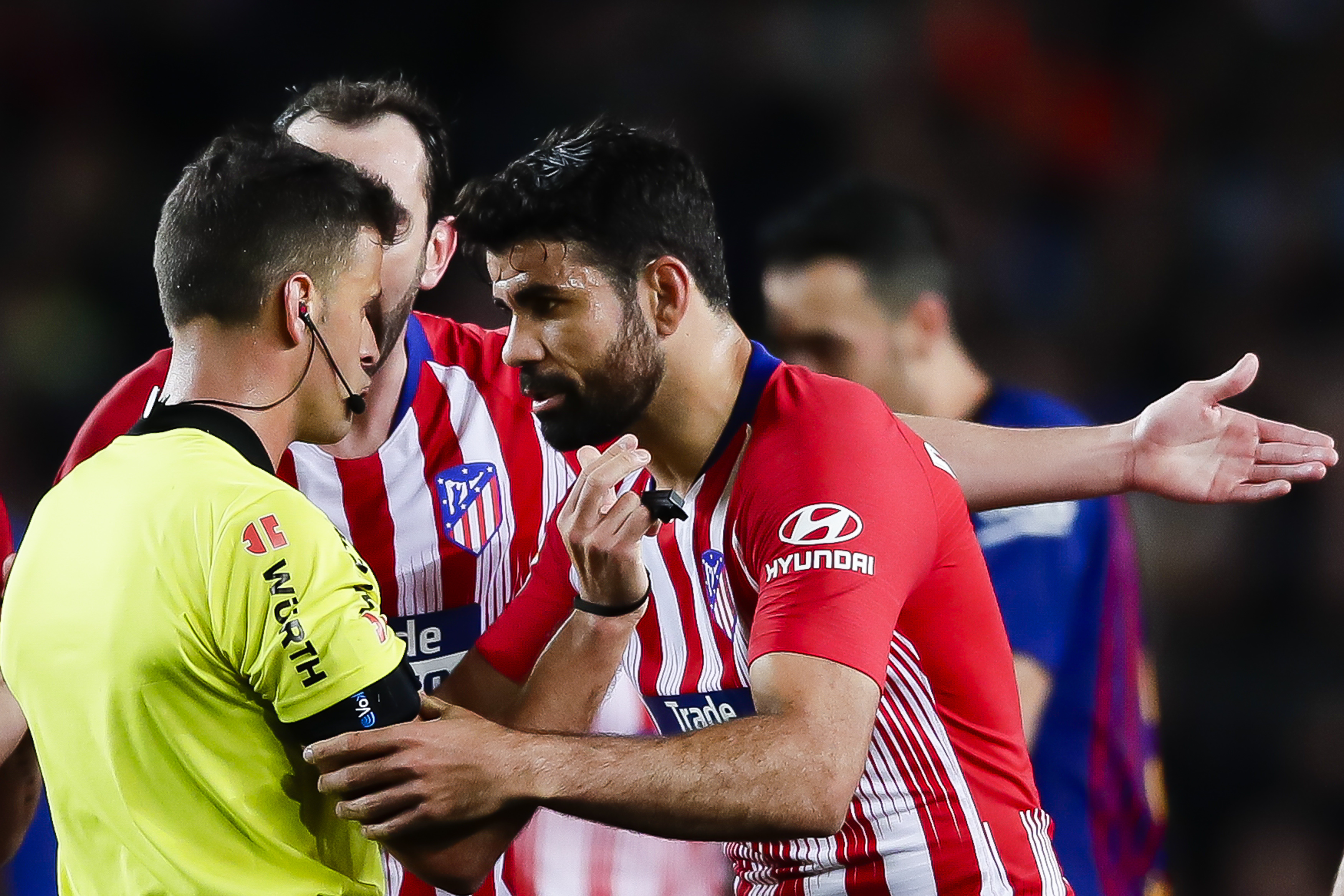 Costa was sent off against Barcelona for something he said to the referee. Image: PA Images