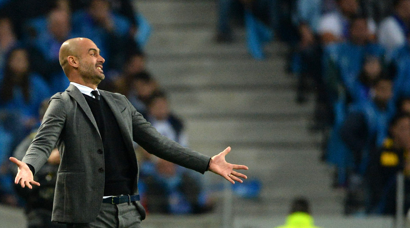 An unhappy Pep during Bayern's loss to Porto. Image: PA Images
