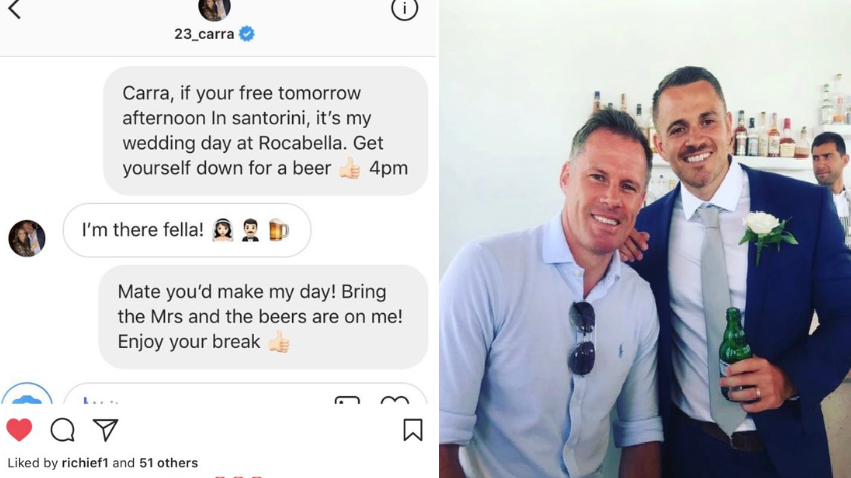 Jamie Carragher Turns Up At Liverpool Fan's Wedding After Instagram Invite