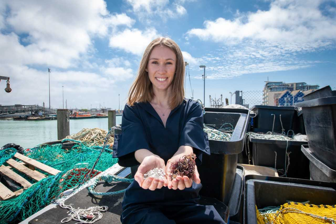 The fully biodegradable material is made using fish skin and red algae. Credit: University of Sussex