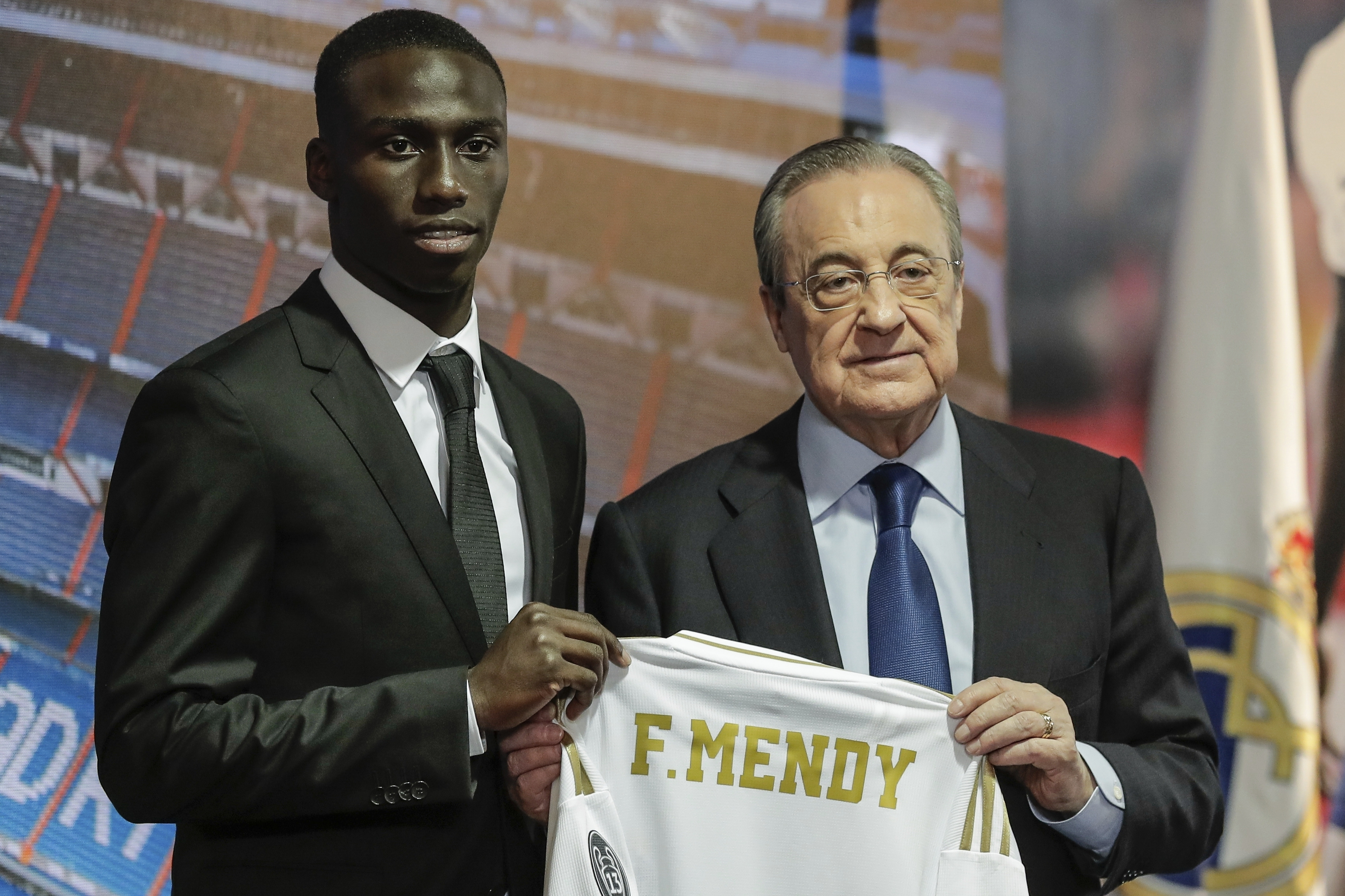Ferland Mendy at his unveiling. Image: PA Images
