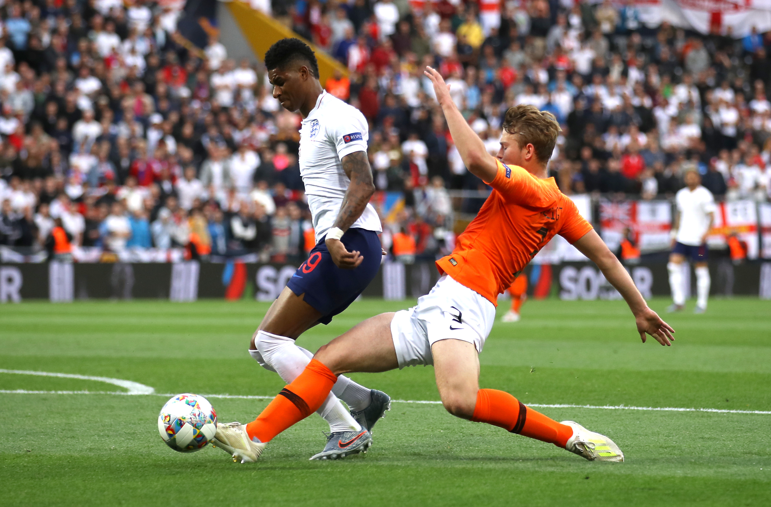 Rashford saw himself brought down by de Ligt for the penalty (Image Credit: PA)