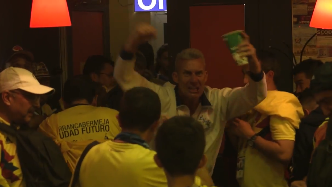 Lone England Fan Is Brave Or Daft As He Celebrates World Cup Win In Colombian Bar In Moscow