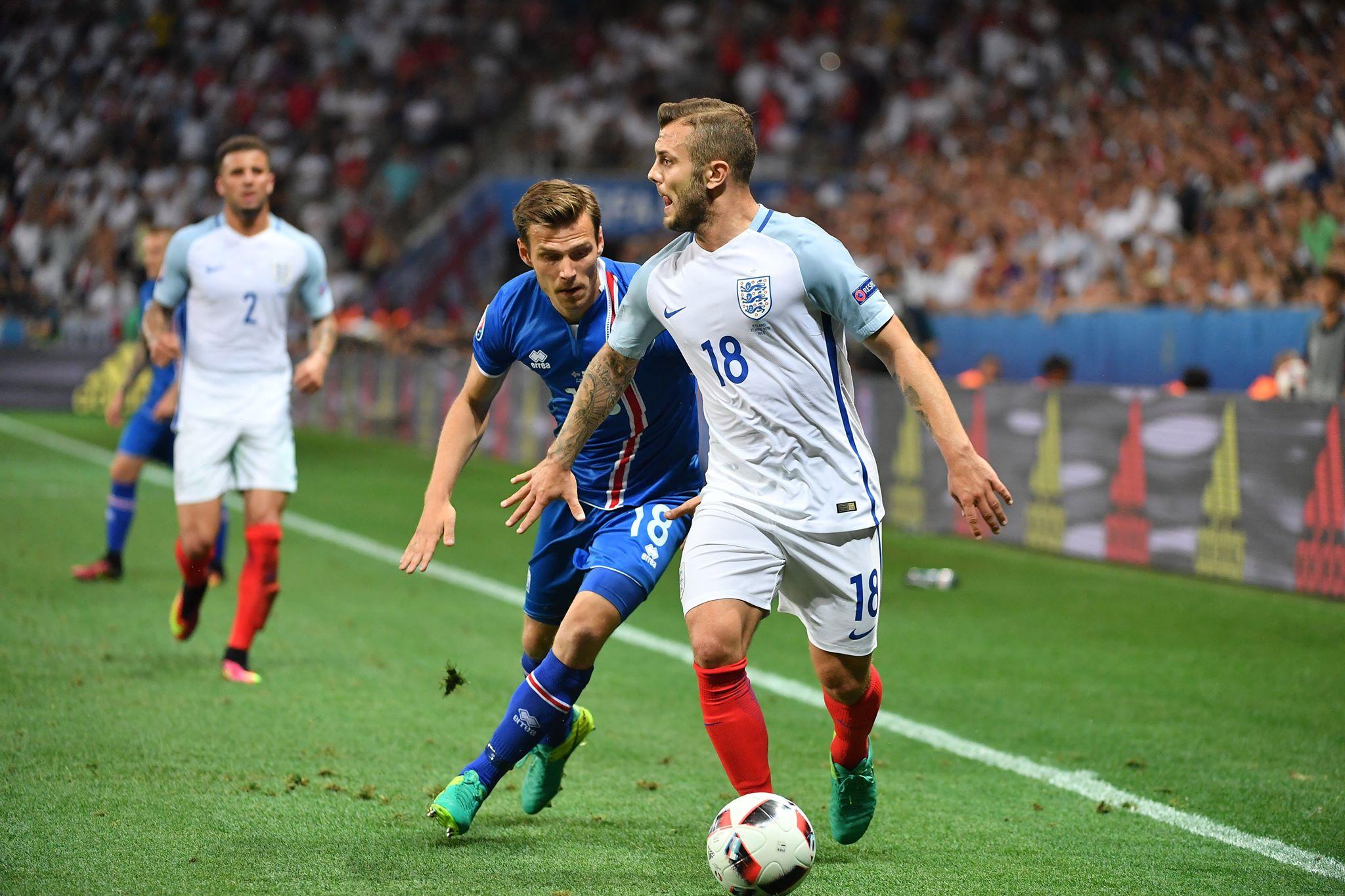 Jack Wilshere against Iceland. Image: PA