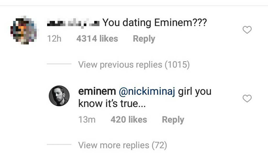 Nicki Minaj says she's dating Eminem