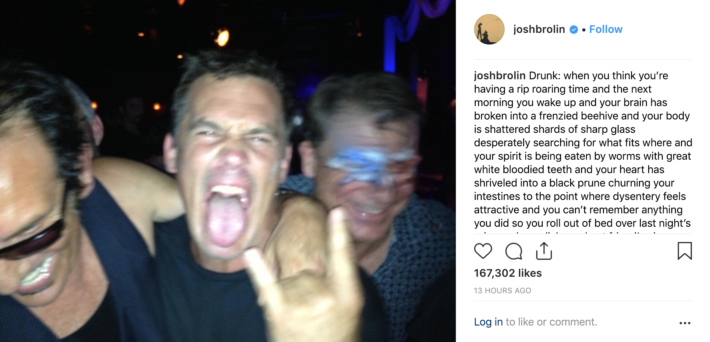 Josh Brolin opens up about his heavy drinking days. Credit: Josh Brolin/Instagram