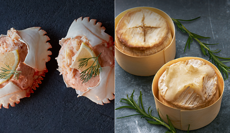 Waitrose's dressed Orkney crabs and mini baking goat's cheese. Credit: Waitrose