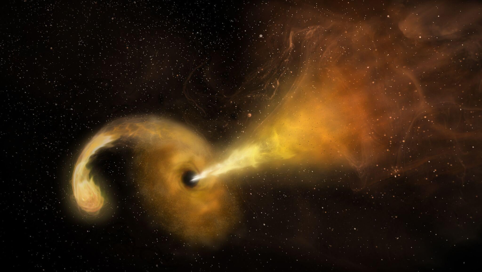 Astronomers spot black hole shredding a massive star