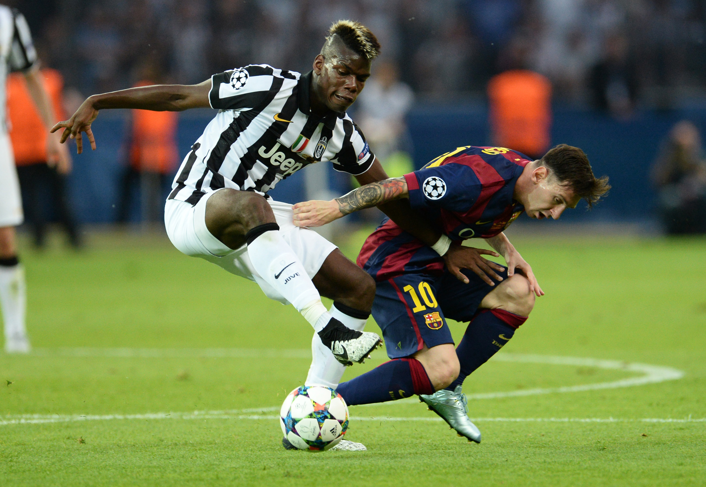 Pogba battles with Messi in the Champions League final. Image: PA Images