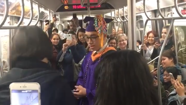 Student Misses Graduation So Subway Travellers Help Him Celebrate