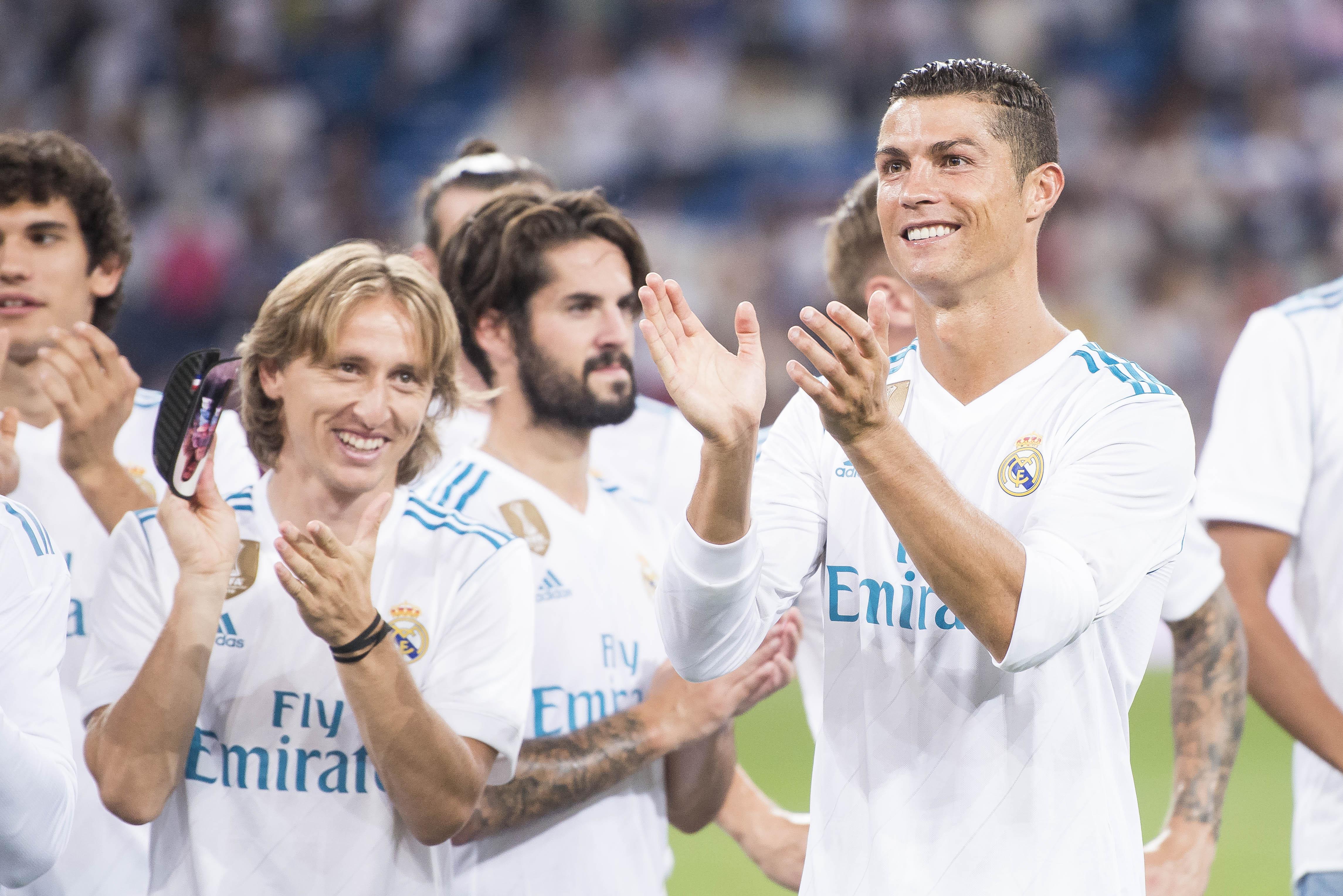 Modric and Ronaldo in celebratory mood. Image: PA