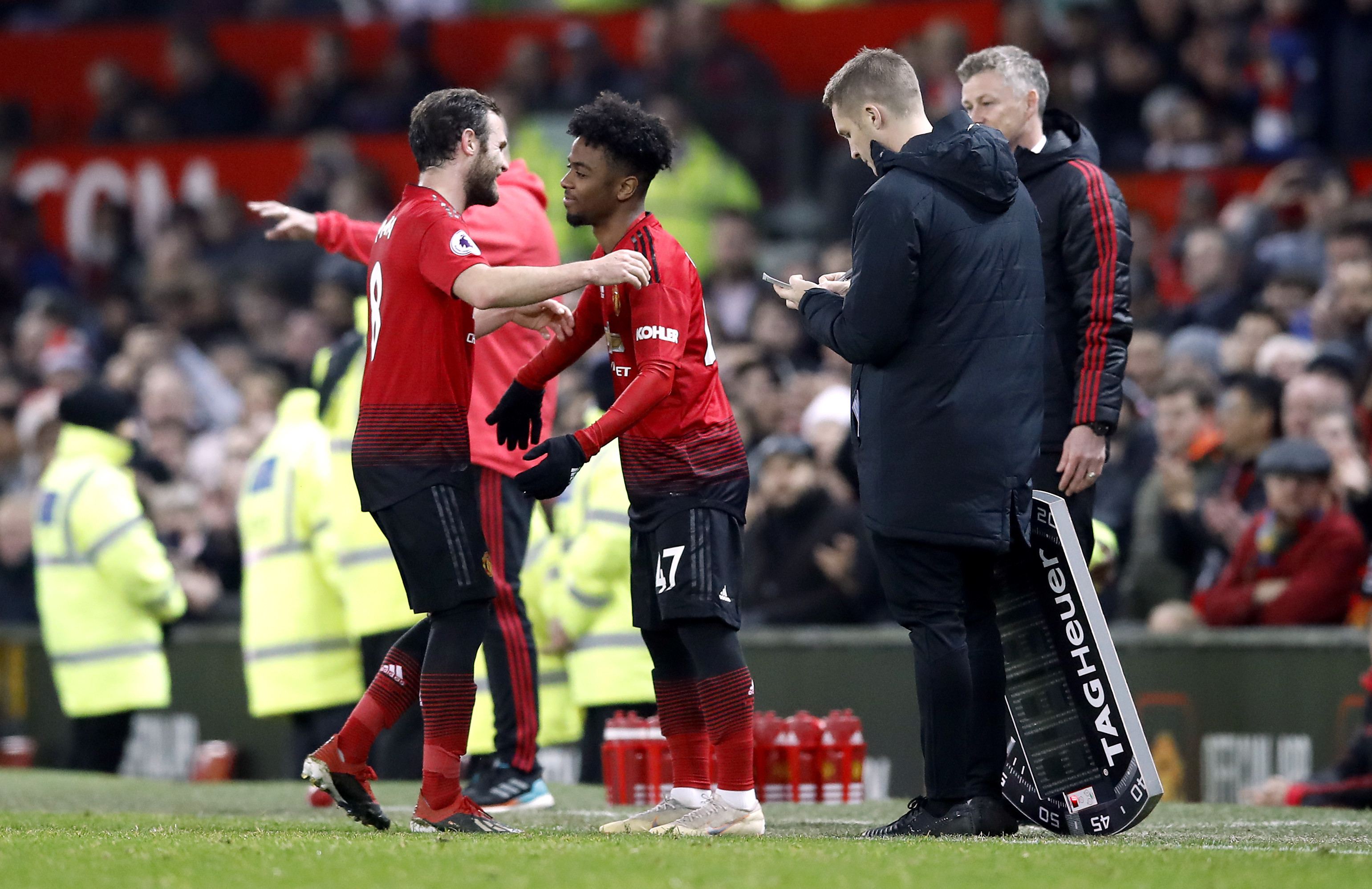 Gomes coming on for Mata earlier this season. Image: PA Images
