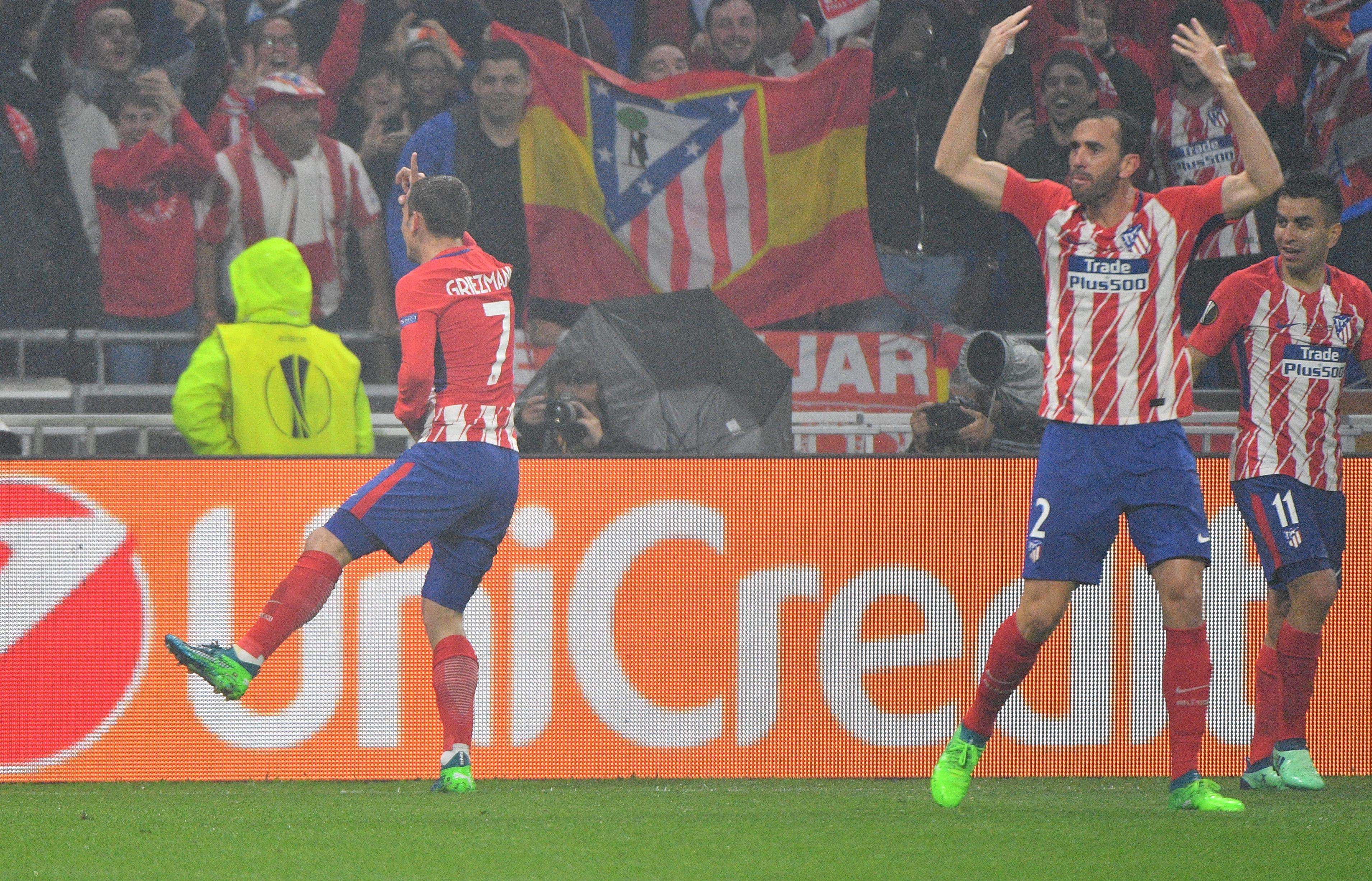 Griezmann celebrates scoring a goal. Image: PA