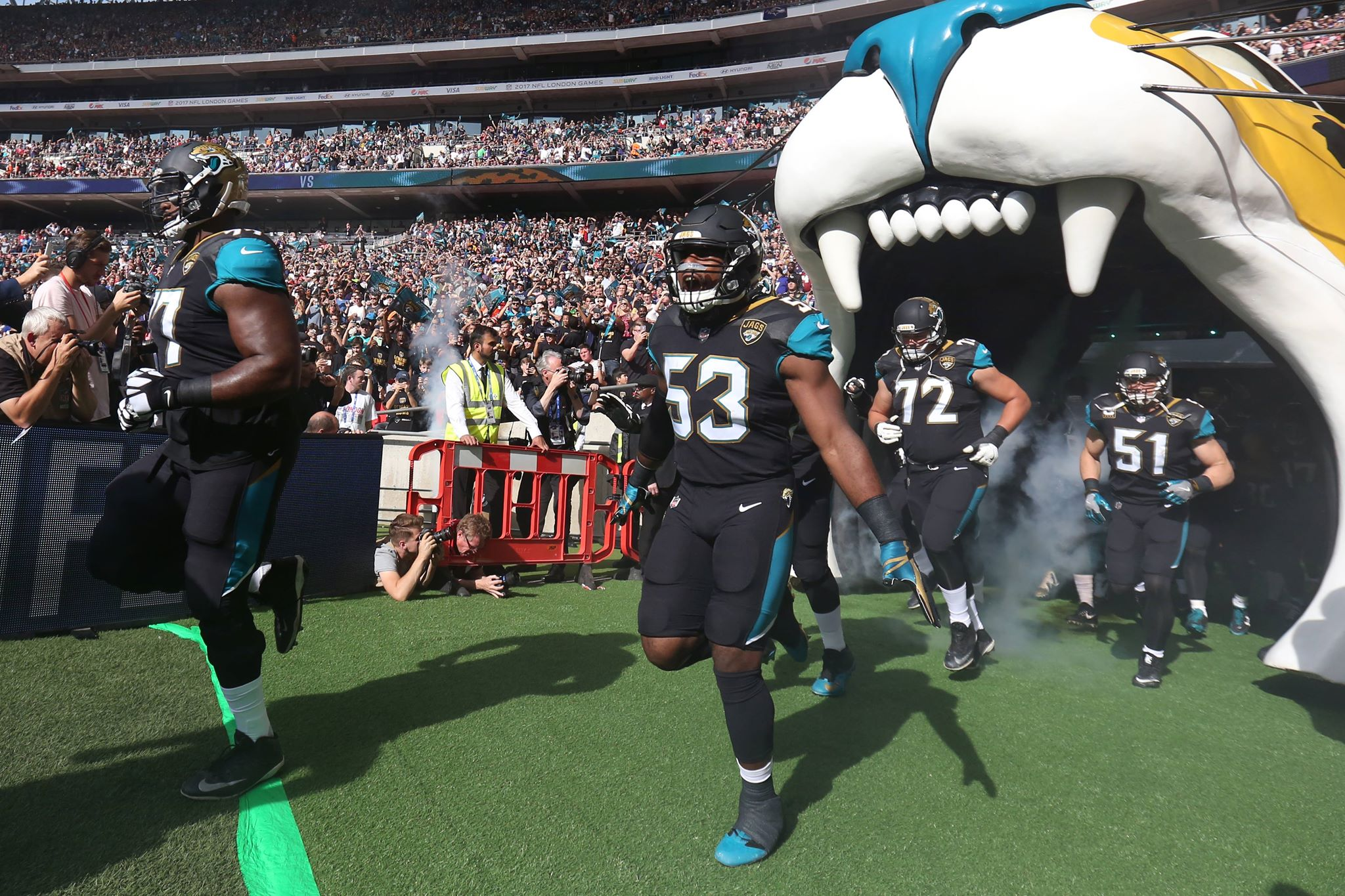 Jaguars arrive on the pitch at Wembley, it could soon be their permanent home. Image: PA Images
