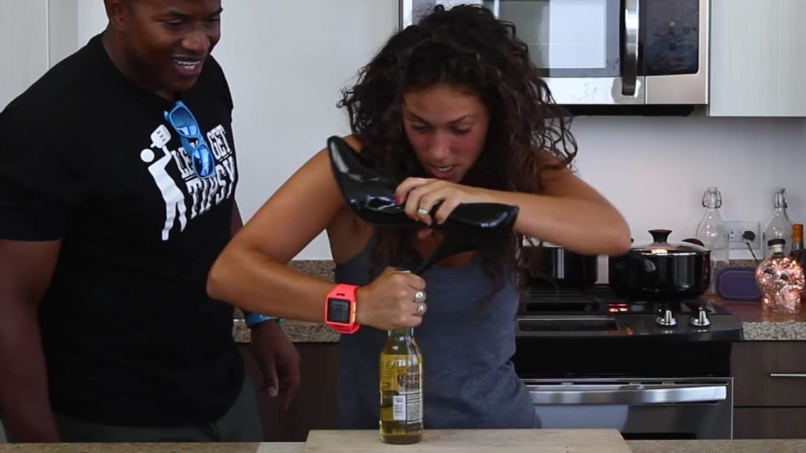 You can use a high heel to break into a bottle. Credit: Tipsy Bartender/YouTube